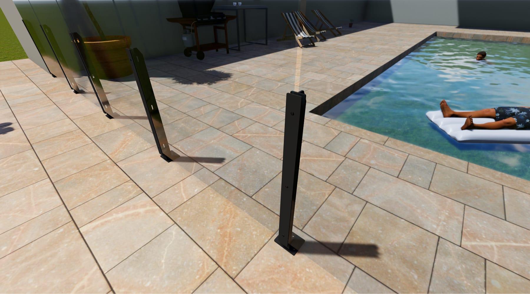 poteau barrière en verre pour piscine