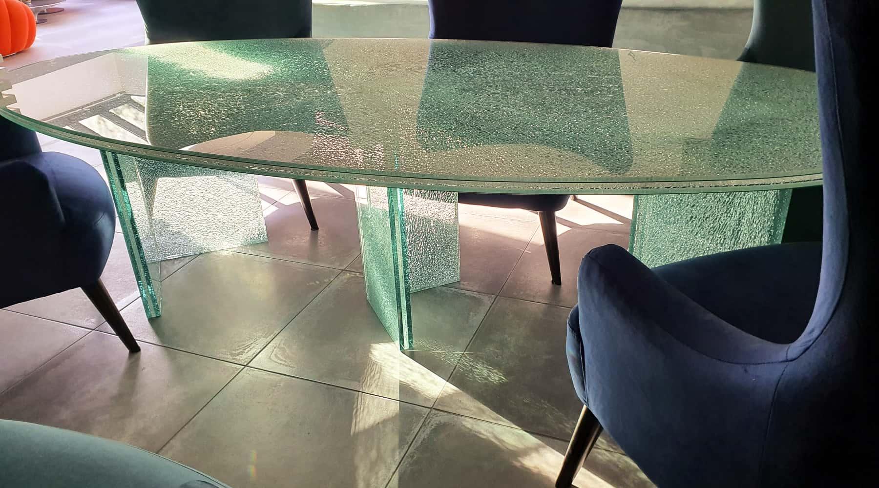 pied et plateau de table en verre trempé